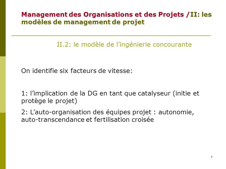 Management des Organisations et des Projets /II: les modèles de management de projet