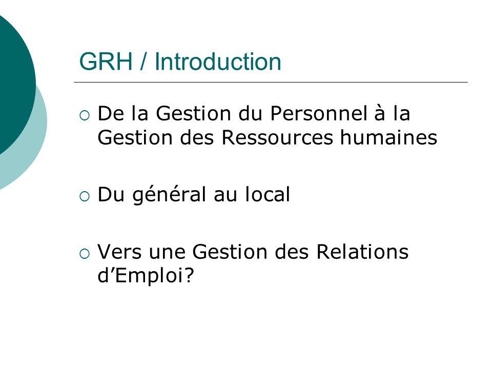 GRH / Introduction De la Gestion du Personnel à la Gestion des Ressources humaines. Du général au local.