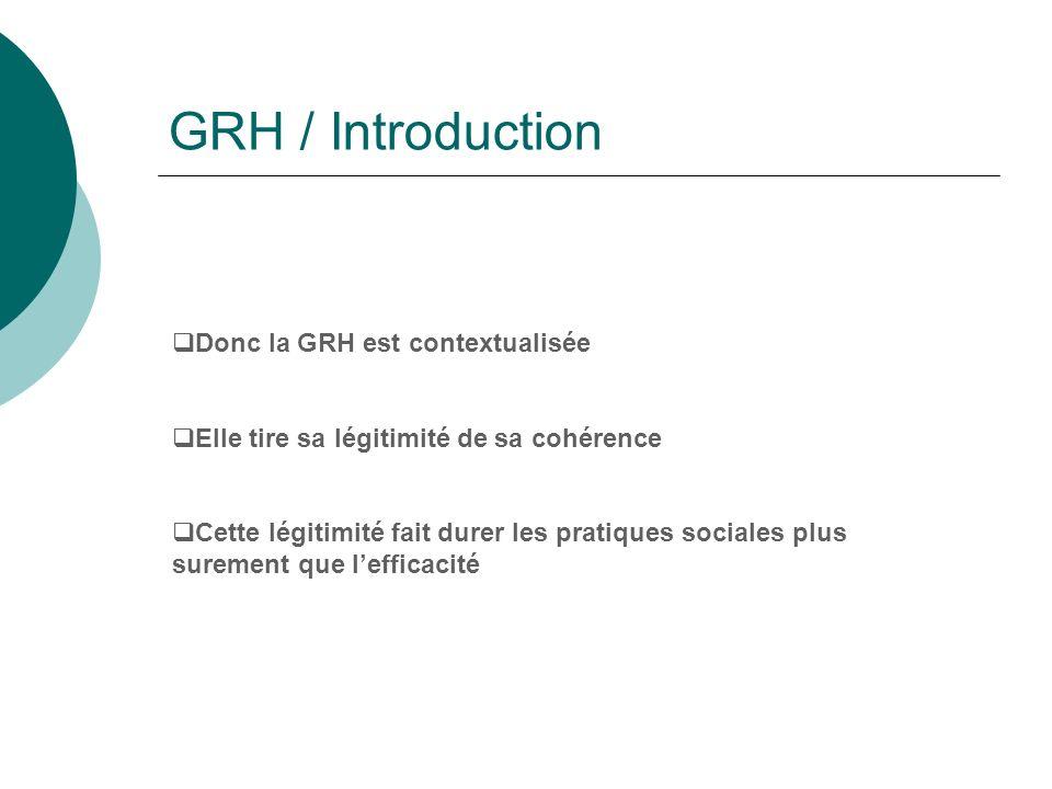 GRH / Introduction Donc la GRH est contextualisée