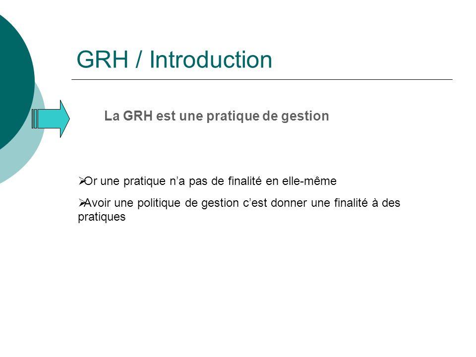 GRH / Introduction La GRH est une pratique de gestion