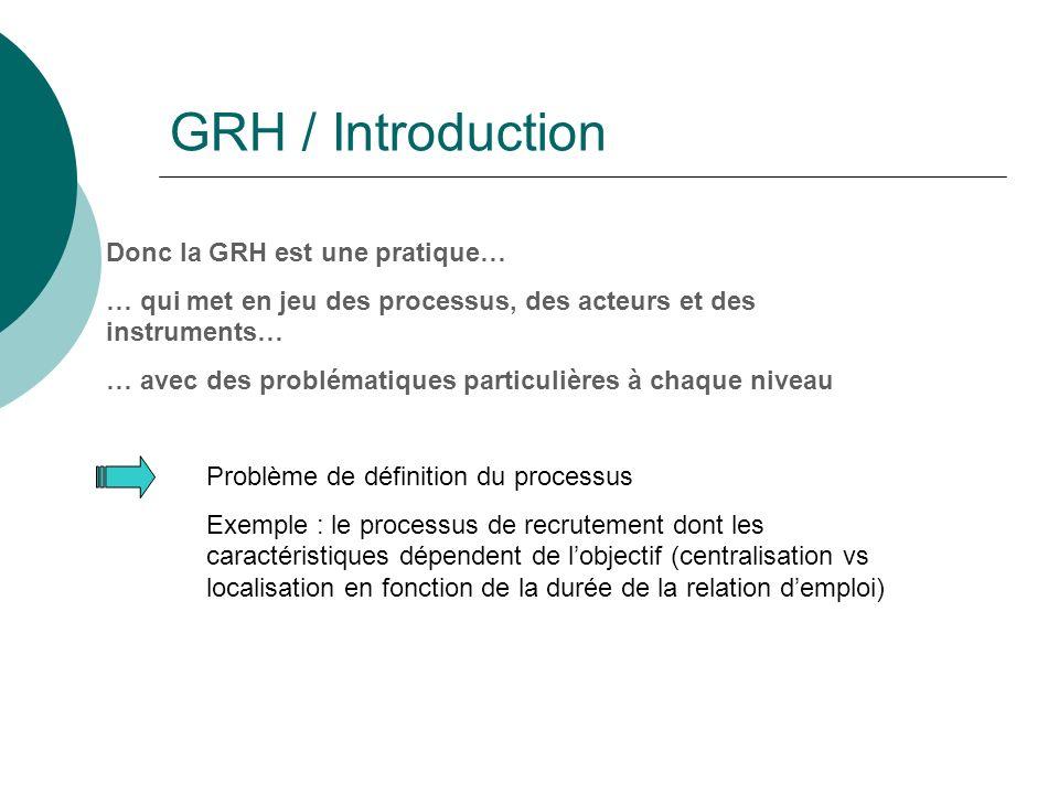 GRH / Introduction Donc la GRH est une pratique…