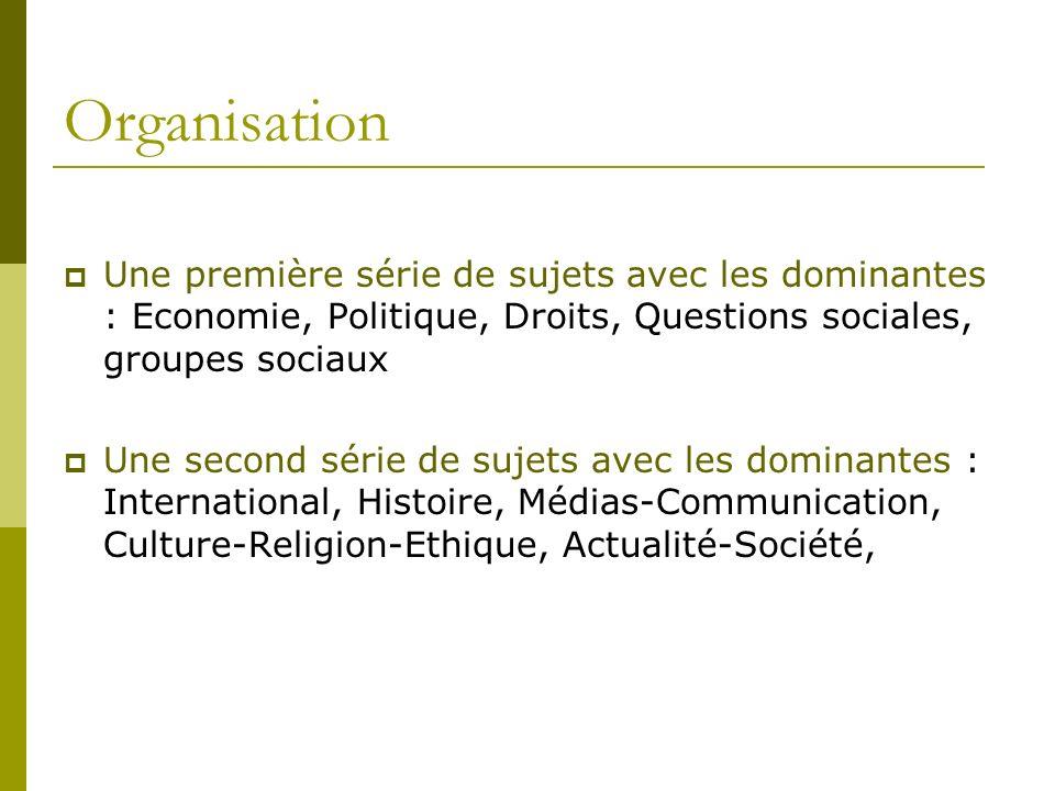 OrganisationUne première série de sujets avec les dominantes : Economie, Politique, Droits, Questions sociales, groupes sociaux.