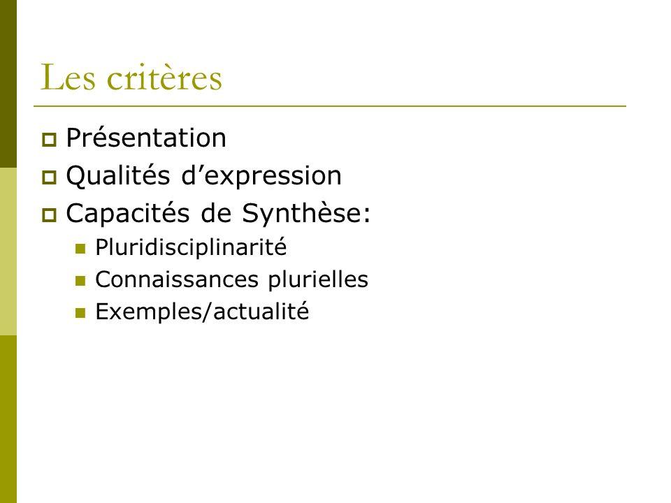 Les critères Présentation Qualités d'expression Capacités de Synthèse: