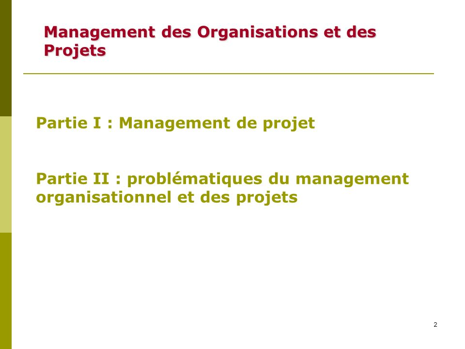 Management des Organisations et des Projets