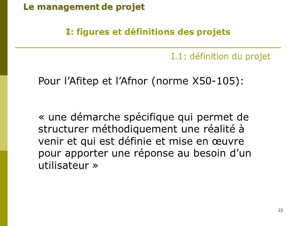 Pour l'Afitep et l'Afnor (norme X50-105):