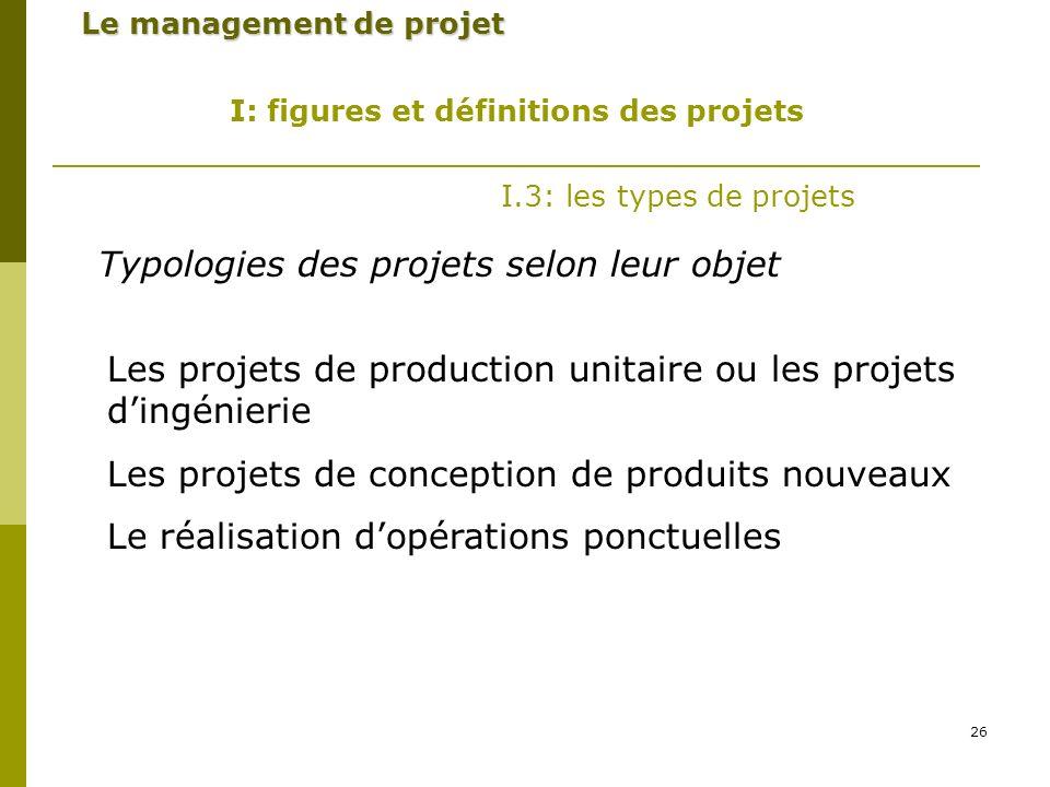 Typologies des projets selon leur objet