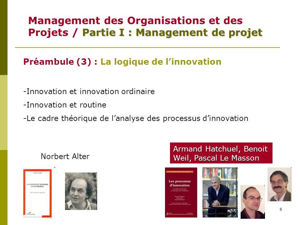 Management des Organisations et des Projets / Partie I : Management de projet