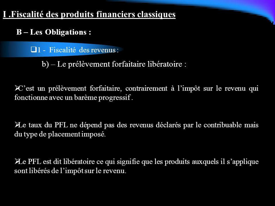 I .Fiscalité des produits financiers classiques