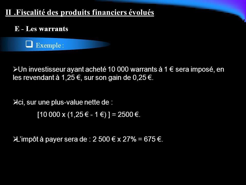 Exemple : II .Fiscalité des produits financiers évolués