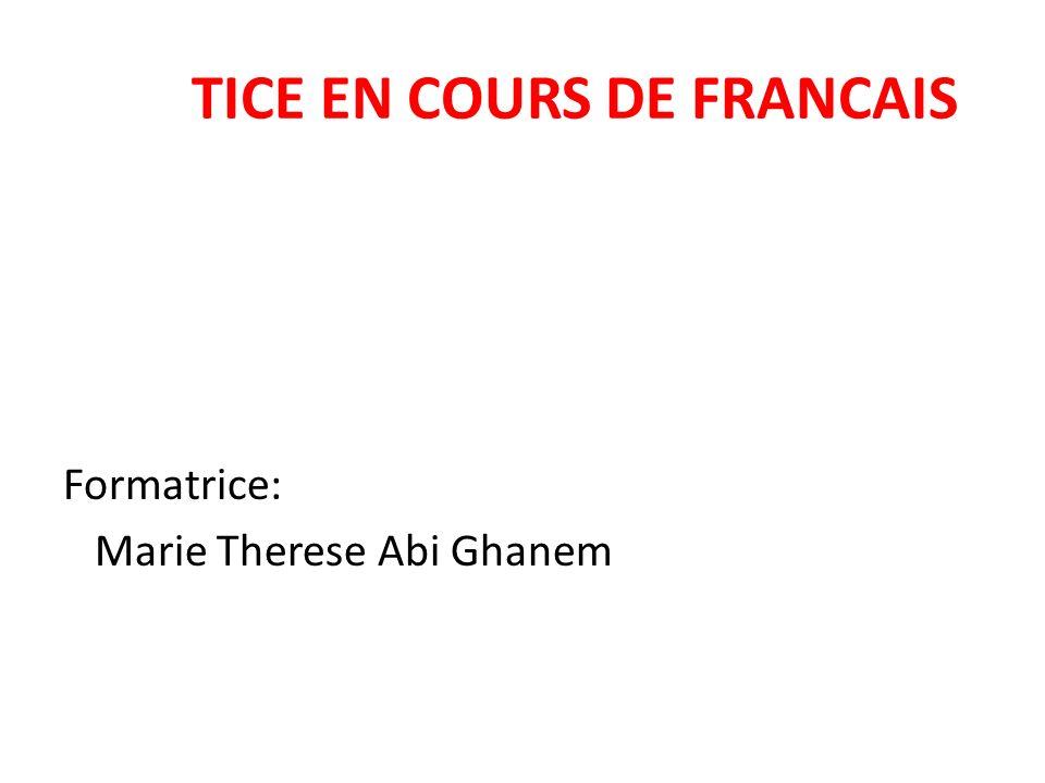 TICE EN COURS DE FRANCAIS