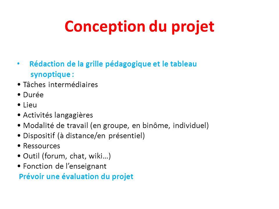 Conception du projet Rédaction de la grille pédagogique et le tableau