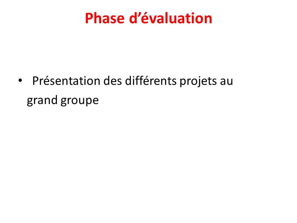 Phase d'évaluation Présentation des différents projets au grand groupe