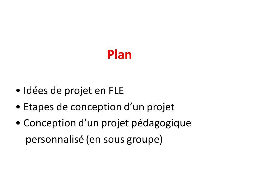 Plan • Idées de projet en FLE • Etapes de conception d'un projet