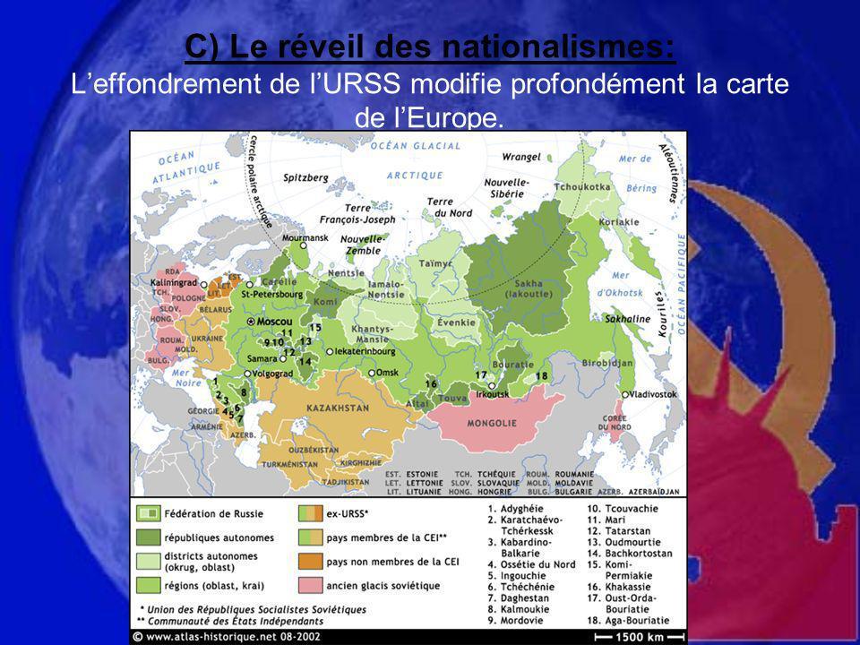 C) Le réveil des nationalismes: L'effondrement de l'URSS modifie profondément la carte de l'Europe.
