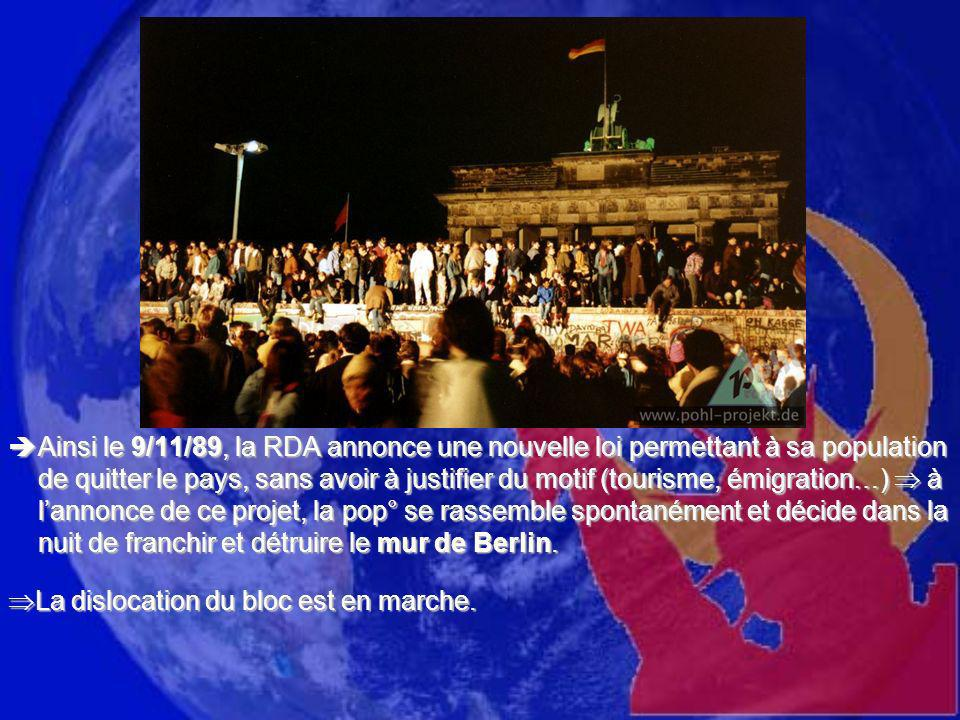 Ainsi le 9/11/89, la RDA annonce une nouvelle loi permettant à sa population de quitter le pays, sans avoir à justifier du motif (tourisme, émigration…)  à l'annonce de ce projet, la pop° se rassemble spontanément et décide dans la nuit de franchir et détruire le mur de Berlin.