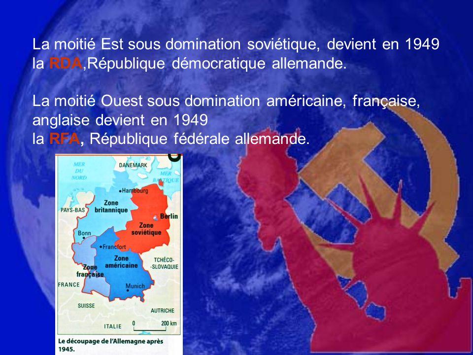 La moitié Est sous domination soviétique, devient en 1949