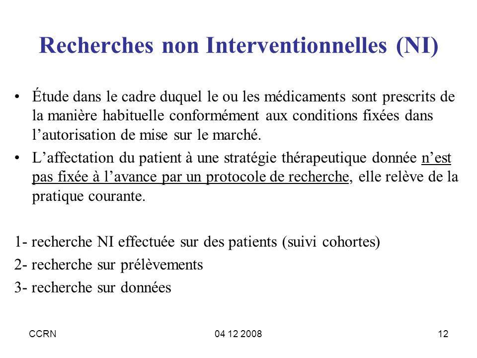 Recherches non Interventionnelles (NI)