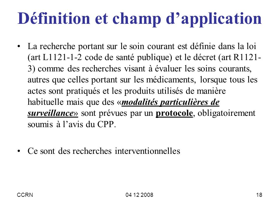 Définition et champ d'application