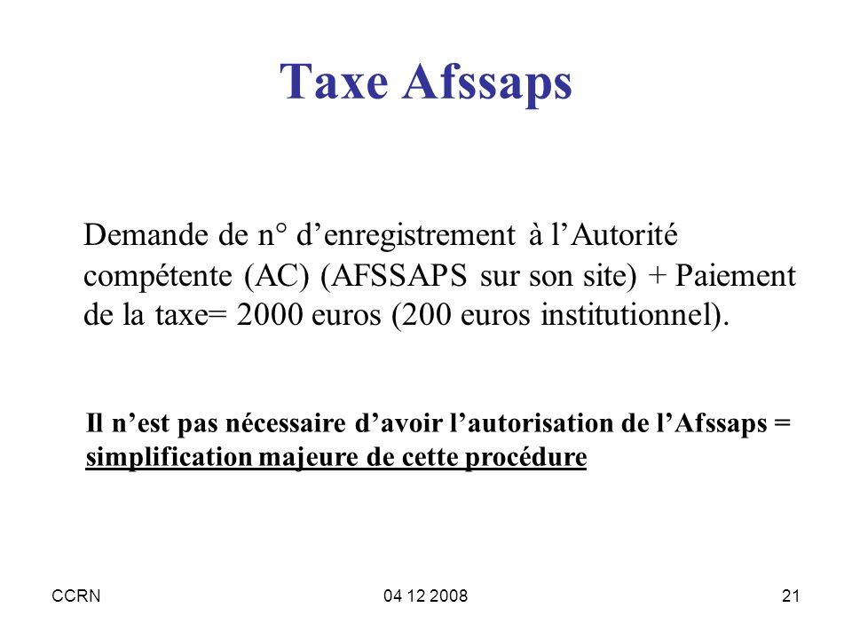 Taxe Afssaps
