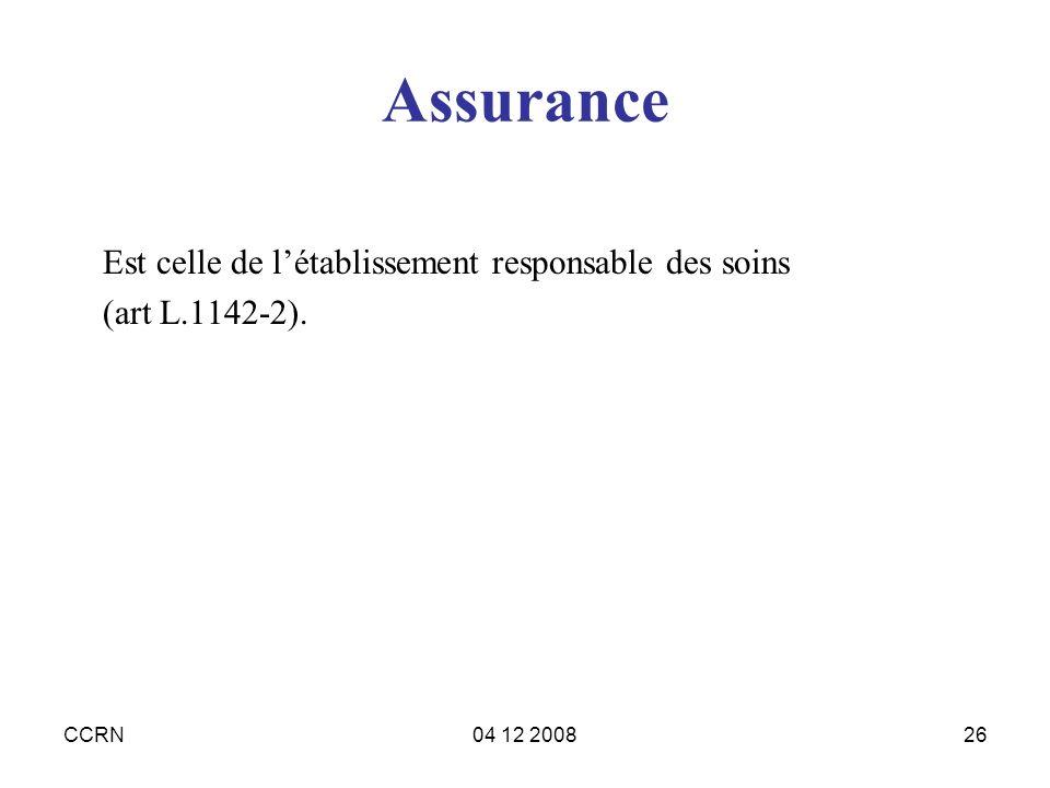 Assurance Est celle de l'établissement responsable des soins