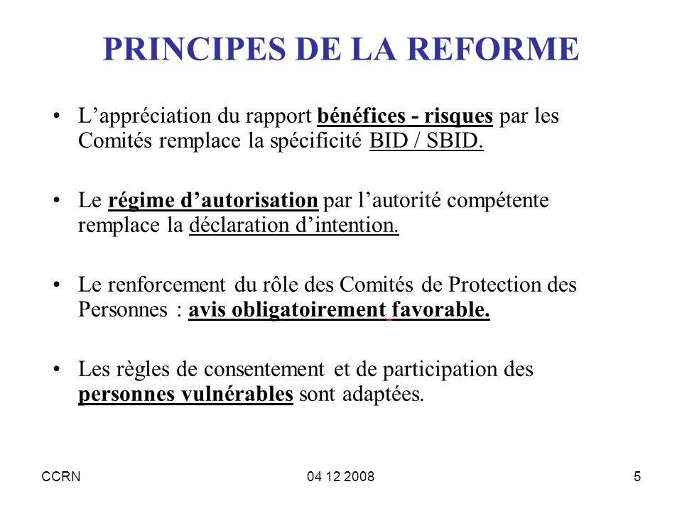 PRINCIPES DE LA REFORME