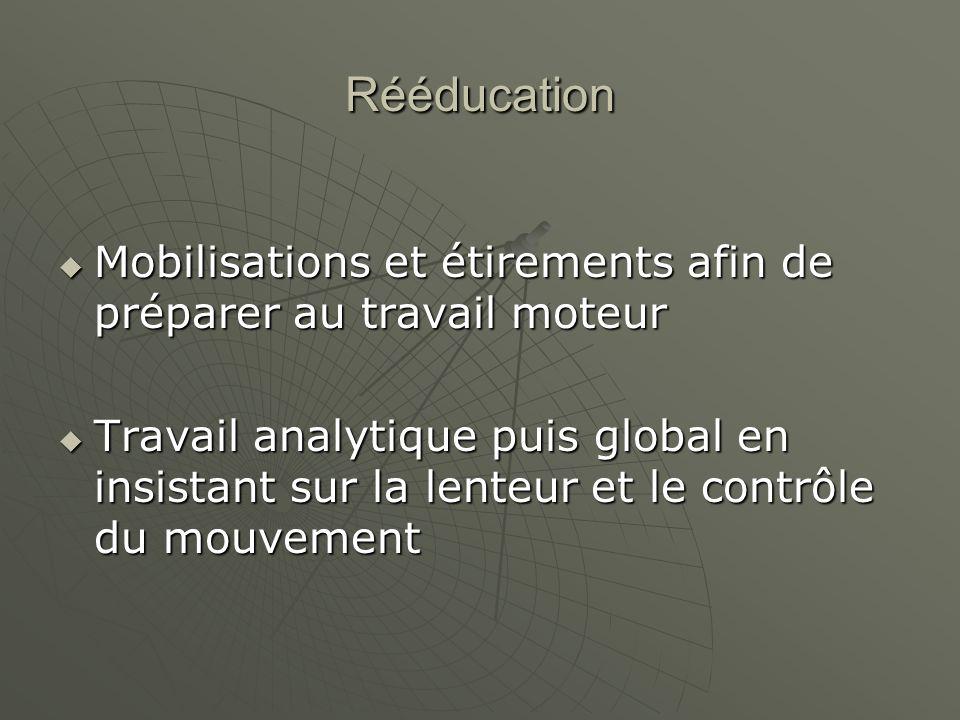 Rééducation Mobilisations et étirements afin de préparer au travail moteur.