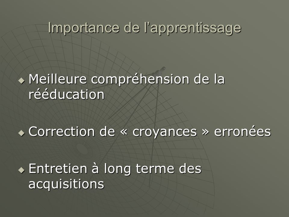 Importance de l'apprentissage