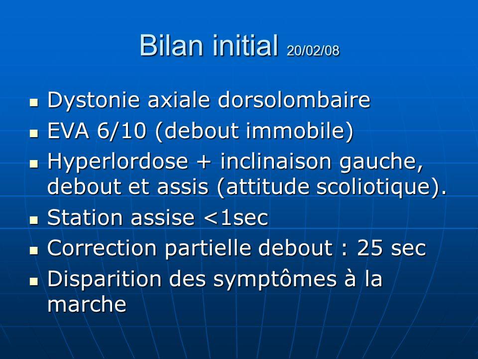 Bilan initial 20/02/08 Dystonie axiale dorsolombaire