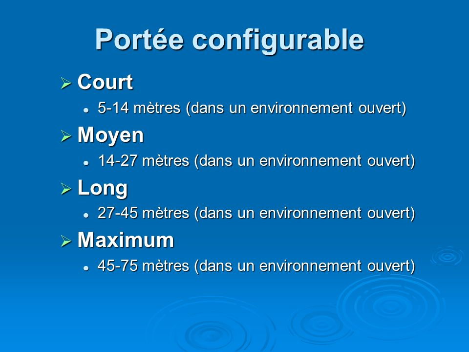 Portée configurable Court Moyen Long Maximum