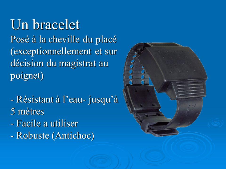 Un braceletPosé à la cheville du placé (exceptionnellement et sur décision du magistrat au poignet)