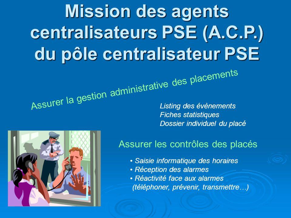 Mission des agents centralisateurs PSE (A. C. P