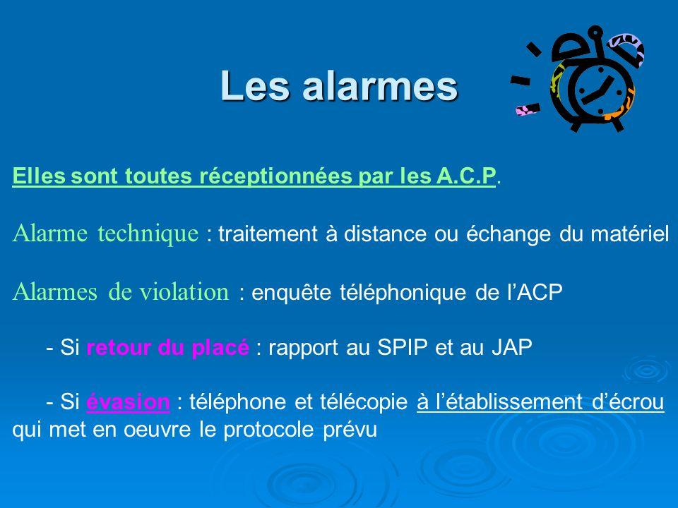 Les alarmes Elles sont toutes réceptionnées par les A.C.P. Alarme technique : traitement à distance ou échange du matériel.