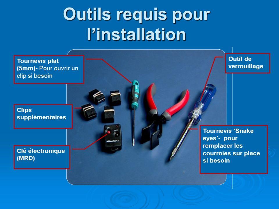 Outils requis pour l'installation