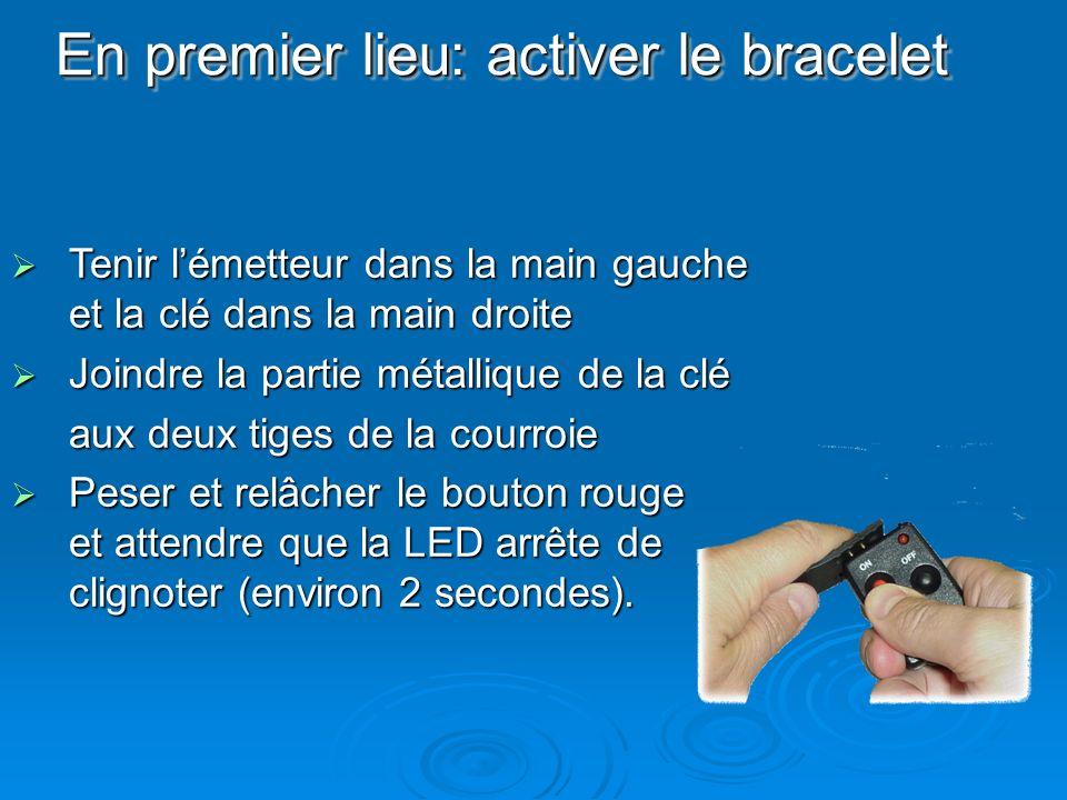 En premier lieu: activer le bracelet