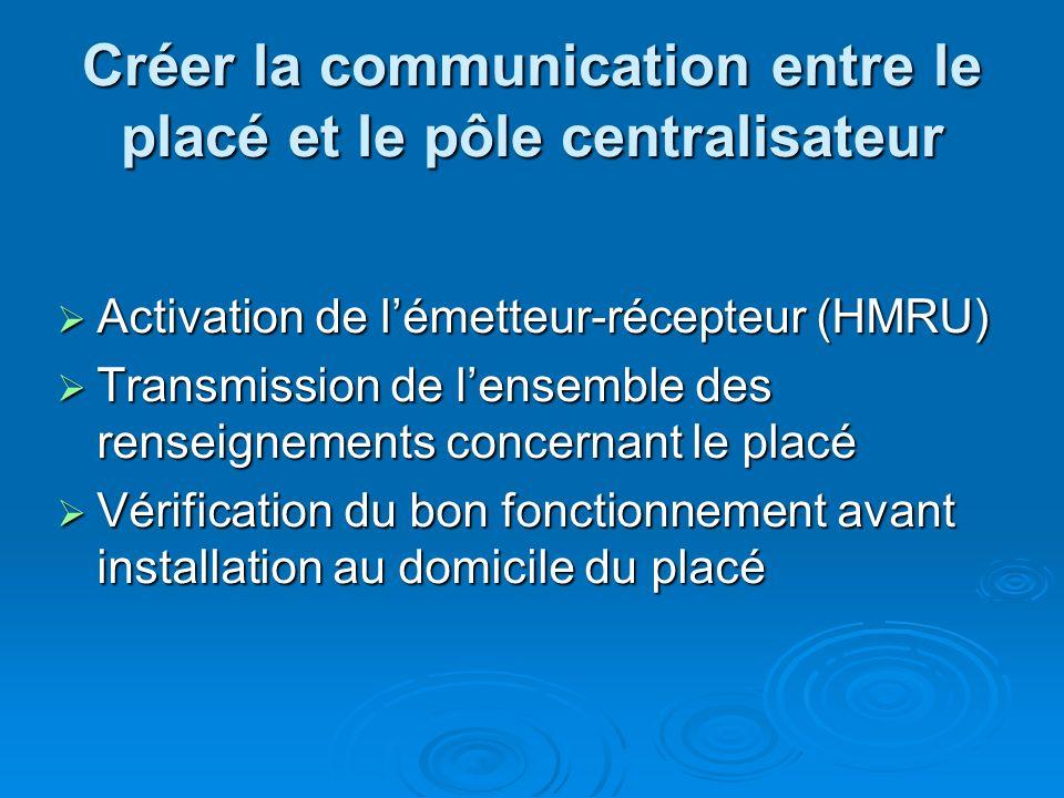 Créer la communication entre le placé et le pôle centralisateur