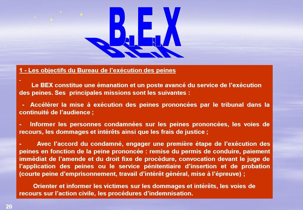 B.E.X 1 - Les objectifs du Bureau de l'exécution des peines