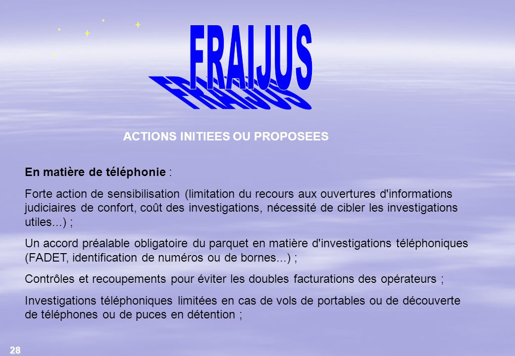 ACTIONS INITIEES OU PROPOSEES