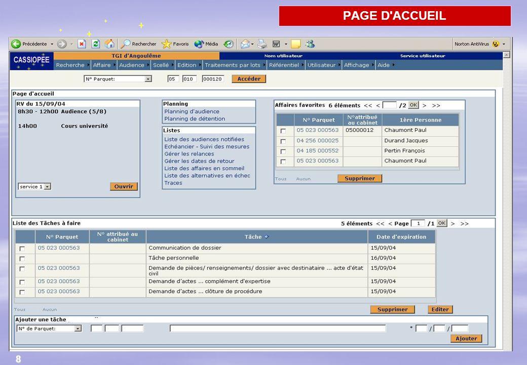26/03/2017 PAGE D ACCUEIL. - L accès à Cassiopee se fait via l intranet. Comme habituellement on se connecte avec un son nom et son mot de passe.
