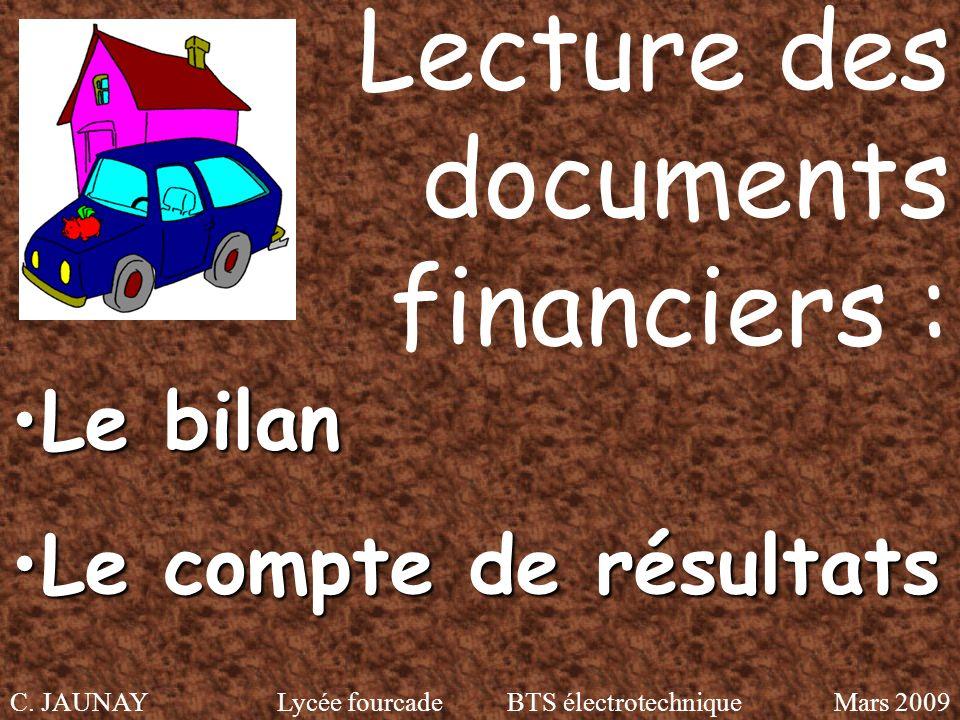 Lecture des documents financiers :