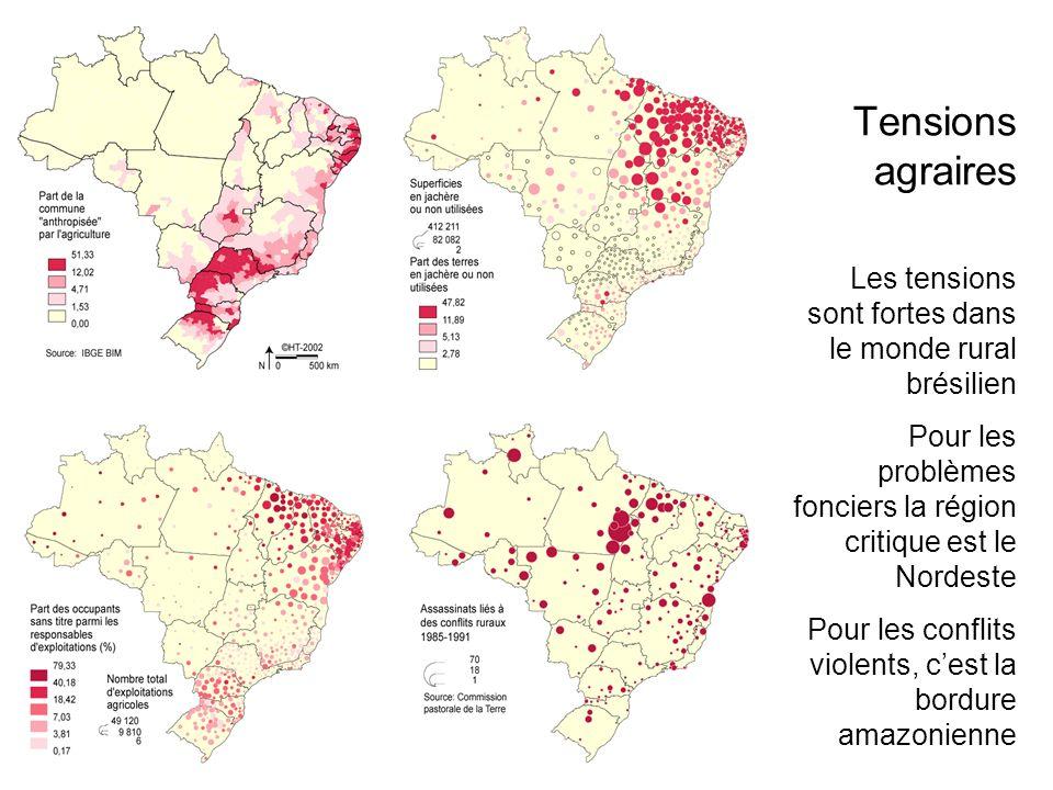 Tensions agraires Les tensions sont fortes dans le monde rural brésilien. Pour les problèmes fonciers la région critique est le Nordeste.