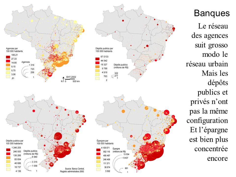 Banques Le réseau des agences suit grosso modo le réseau urbain