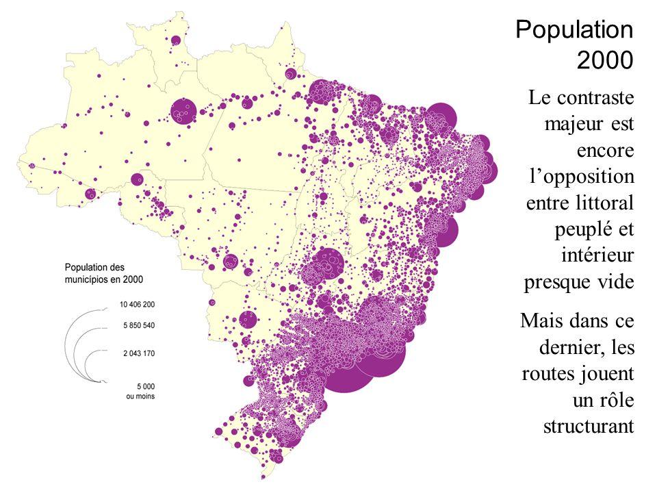 Population 2000 Le contraste majeur est encore l'opposition entre littoral peuplé et intérieur presque vide.