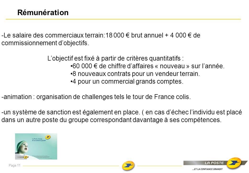 Rémunération -Le salaire des commerciaux terrain:18 000 € brut annuel + 4 000 € de commissionnement d'objectifs.