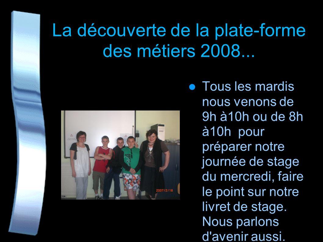 La découverte de la plate-forme des métiers 2008...