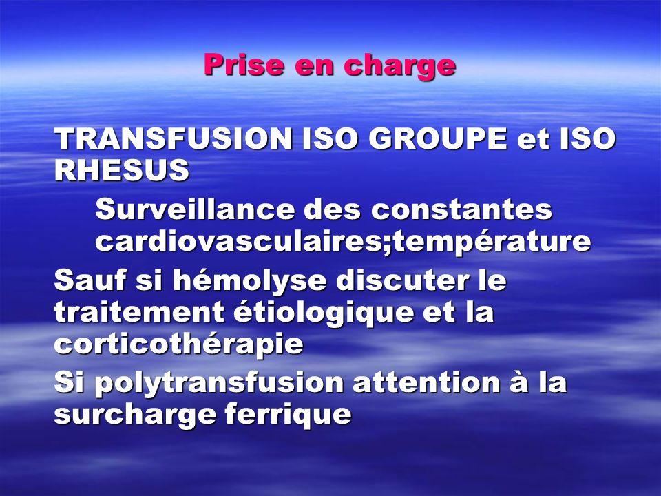 Prise en charge TRANSFUSION ISO GROUPE et ISO RHESUS. Surveillance des constantes cardiovasculaires;température.