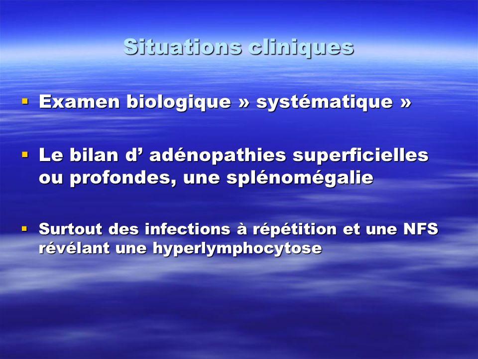 Situations cliniques Examen biologique » systématique »