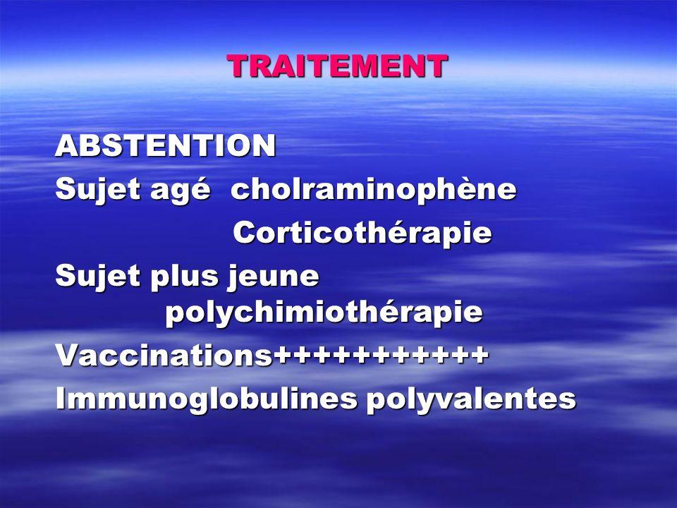 TRAITEMENT ABSTENTION. Sujet agé cholraminophène. Corticothérapie. Sujet plus jeune polychimiothérapie.