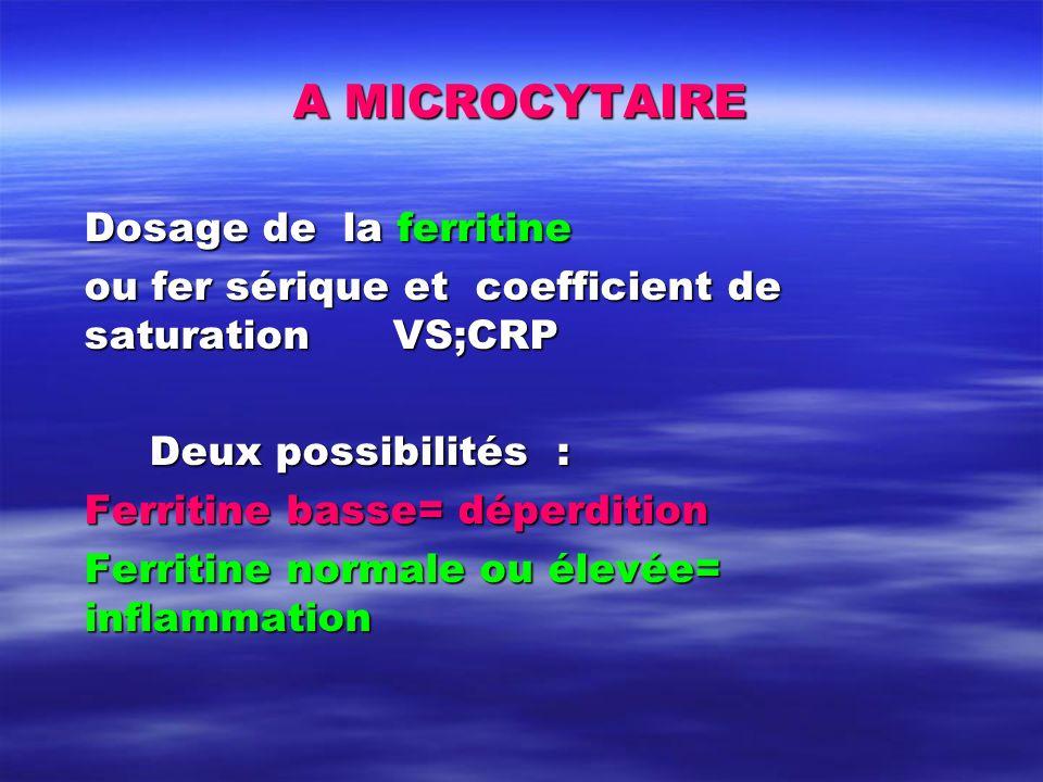 A MICROCYTAIRE Dosage de la ferritine