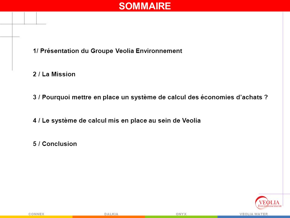 SOMMAIRE 1/ Présentation du Groupe Veolia Environnement 2 / La Mission