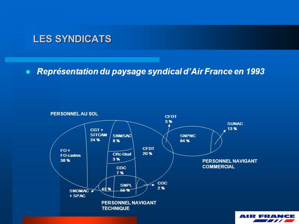 LES SYNDICATS Représentation du paysage syndical d'Air France en 1993
